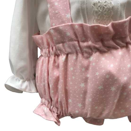Detalle Dolce Petit conjunto rosa tres piezas