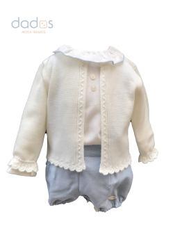 Dolce Petit conjunto bebé celeste y beige