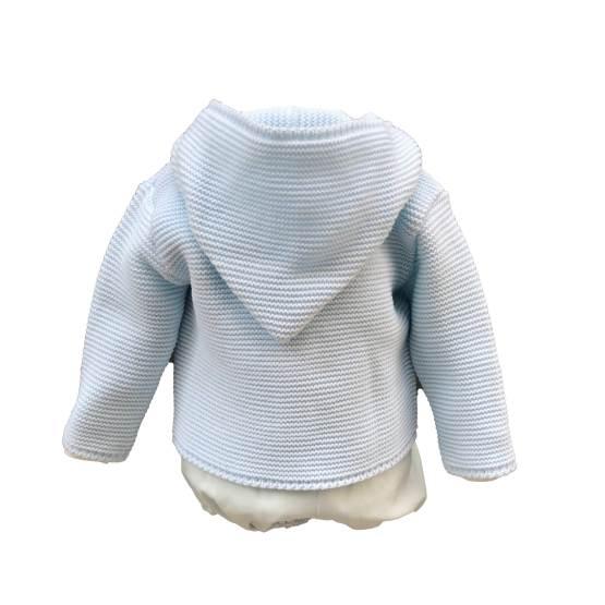 Espalda chaqueta Dolce Petit conjunto bebé 3 piezas celeste