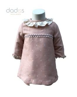 Dolce Petit vestido rosa de topos con braga