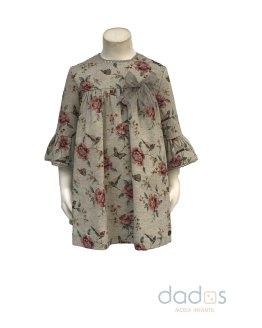 Dolce Petit vestido gris estampado de flores