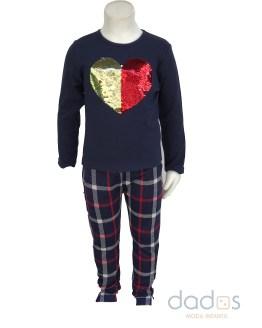 IDO conjunto legging cuadros y camiseta corazón