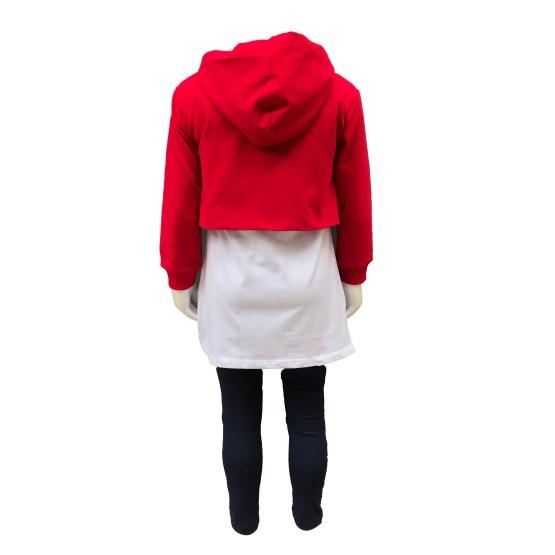 Espalda IDO conjunto 3 piezas sudadera roja capucha Real