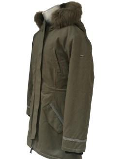 Vista IDO abrigo niña verde militar