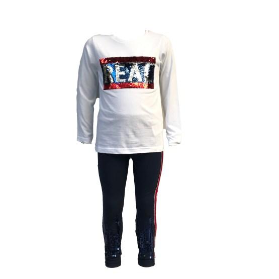 Camiseta IDO conjunto 3 piezas gris y rojo