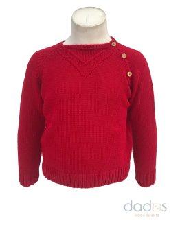 Marta y Paula jersey rojo botones madera