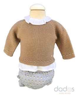 Micolino conjunto braga bellotas con blusa y jersey