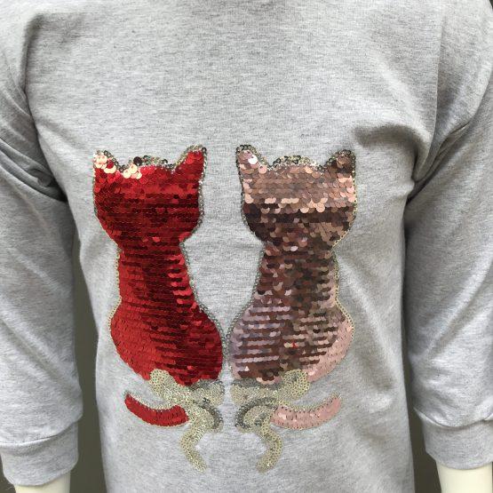 detalle IDO vestido gris gatos