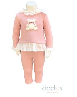 Coco Acqua conjunto rosa pantalón y sudadera osito de pelo