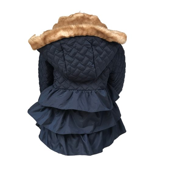 espalda Coco Acqua abrigo acolchado azul con volantes