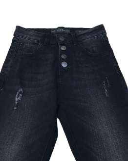 Detalle Guess pantalón tejano negro botones y roto