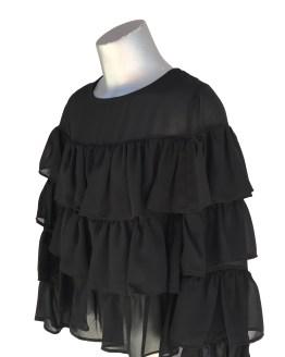 Jaimè blusa negra volantes en crepé detalle