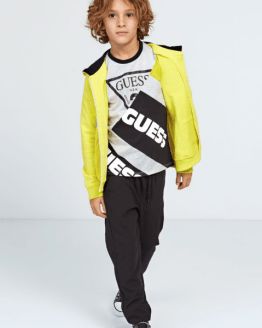 Guess camiseta chico manga larga gris, negro y amarrilo
