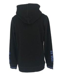 Espalda Petrol sudadera negra con letras azulonas