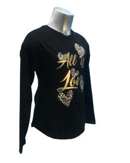 Elsy camiseta negra corazones animal print detalle