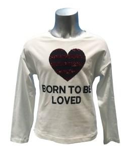 Elsy camiseta blanca corazón lentejuelas rayas