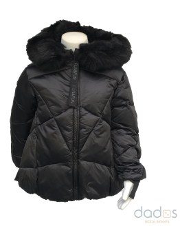 Fun&Fun chaquetón negro con capucha con pelo