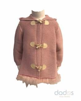 Floc Baby abrigo rosa empolvado con plumas
