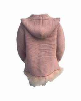 espalda Floc Baby abrigo rosa empolvado con plumas