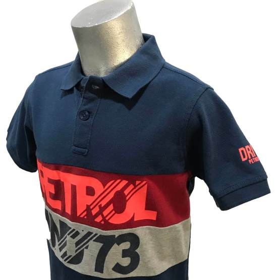 Detalle Petrol polo tricolor manga corta