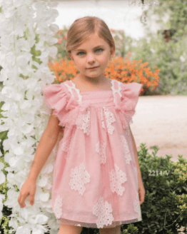 Catálogo Dolce Petit vestido rosa tul con flores