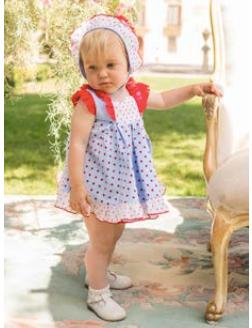Catálogo Dolce Petit vestido y braguita azul y topos rojos