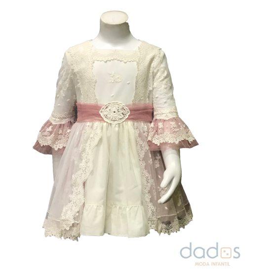 Dolce Petit vestido rosa tul bordado