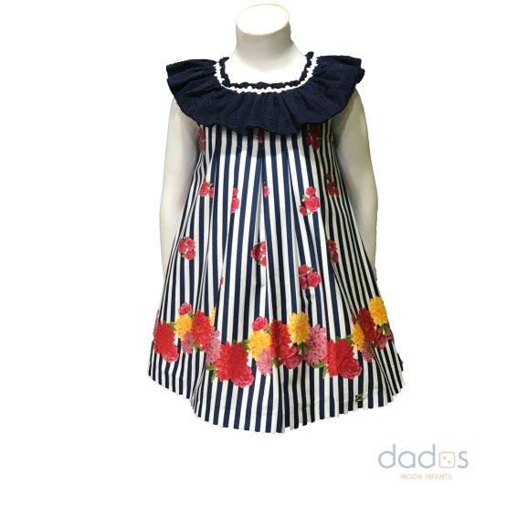 Dolce Petit vestido niña rayas marino y flores