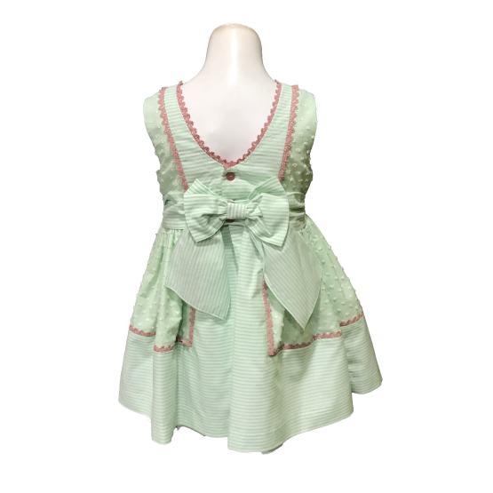Espalda Dolce Petit vestido verde agua con lazos
