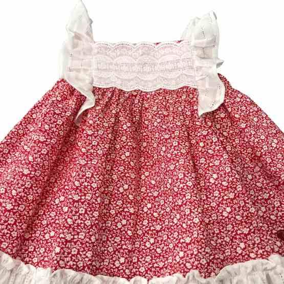 Detalle Dolce Petit vestido rojo estampado flores con braguita
