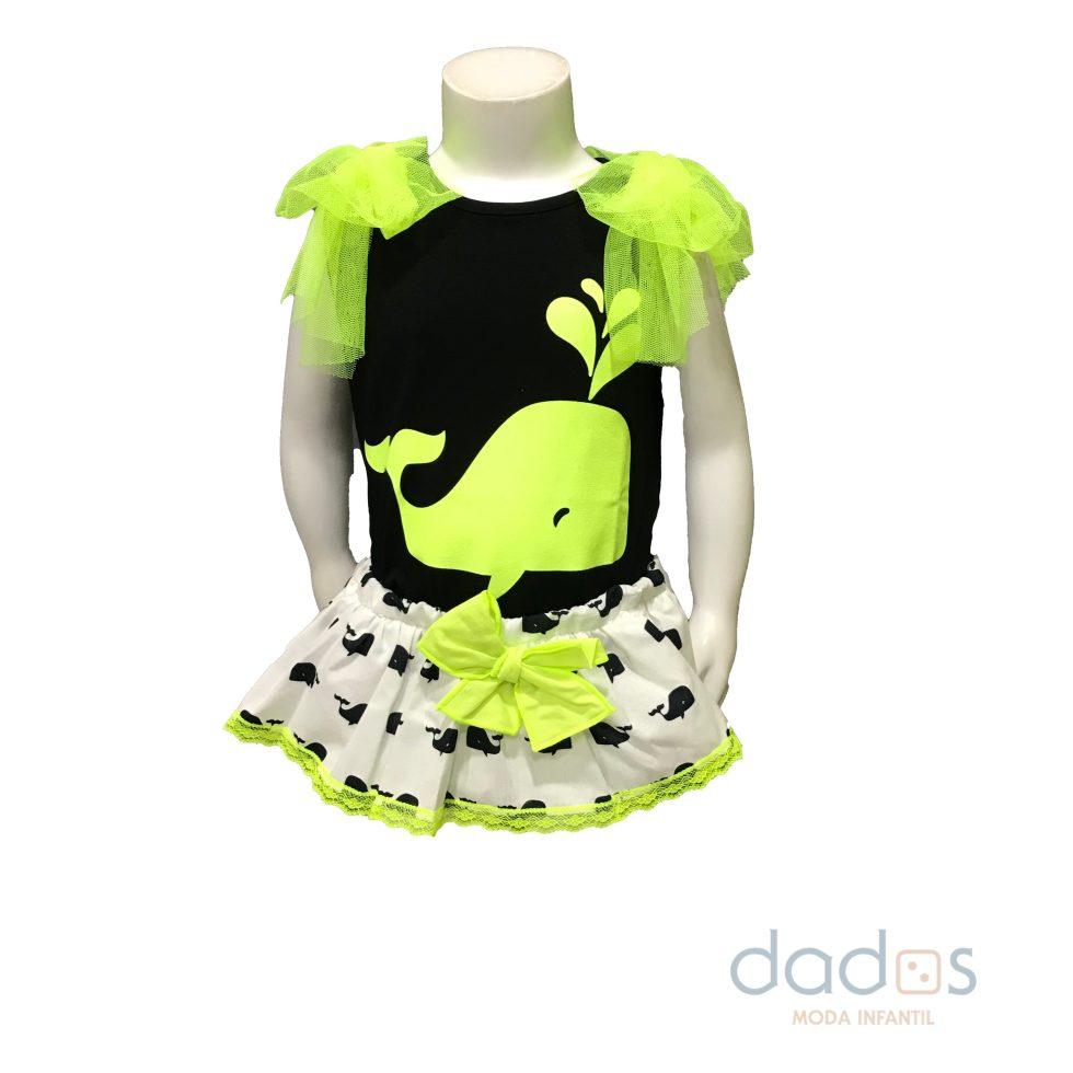 Mon Petit Bonbon conjunto ballena falda y camiseta