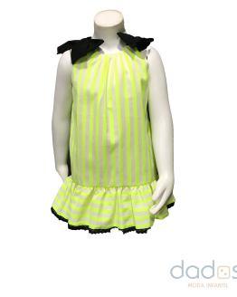 Mon Petit Bonbon vestido rayas fluor