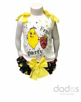 Mon Petit Bonbon conjunto camiseta y braga frutas