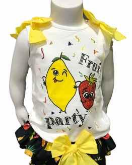 Detalle Mon Petit Bonbon conjunto camiseta y braga frutas