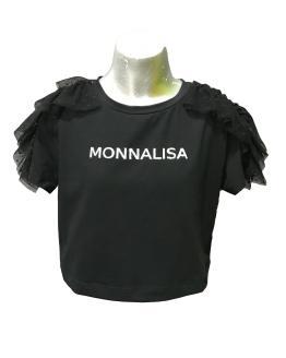 Monnalisa camiseta corta negra volante tul