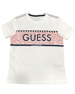 Guess camiseta chico franja letras rojas