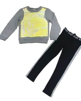 IDO conjunto chica felpa pantalón y sudadera gris
