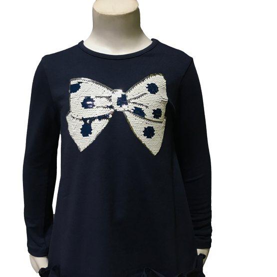 Detalle IDO conjunto legging lunares y camiseta lazo