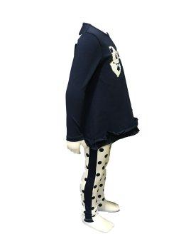 Vista lateral IDO conjunto legging lunares y camiseta lazo