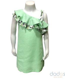 Manuela Montero vestido lino verde con volante camuflaje