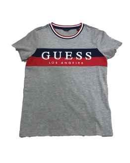Guess camiseta chico gris franja bicolor rojo