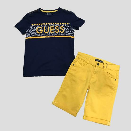 Idea look GUESS camiseta chico marino y amarillo