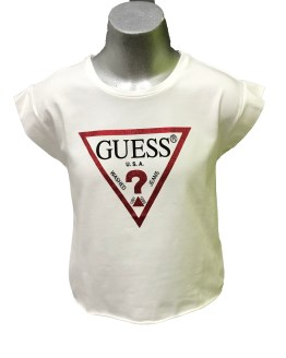 GUESS camiseta chica blanca triángulo rojo