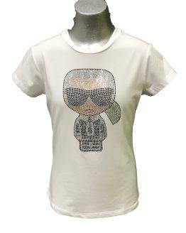 Karl Lagerfeld camiseta blanca dibujo cristales