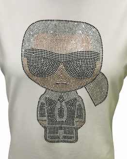 Detalle Karl Lagerfeld camiseta blanca dibujo cristales