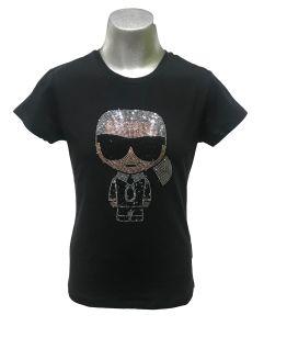 Karl Lagerfeld camiseta negra muñeco cristales