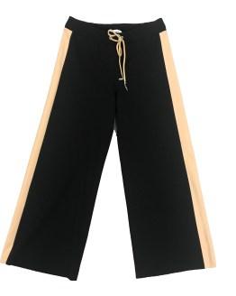 ELSY pantalón palazzo felpa raya lateral camel