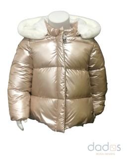 IDO abrigo bebé dorado capucha y pompón