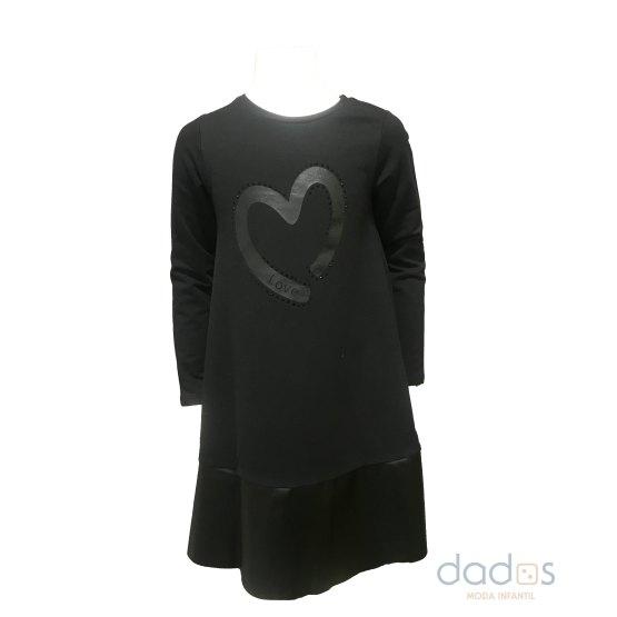 IDO vestido negro corazón manga larga