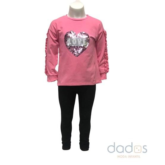 IDO conjunto legging sudadera rosa corazón